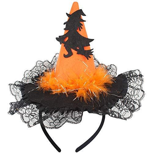 Leisial cappello fasce per capelli forma di cappello di strega copricapo di pizzo con paillettes halloween spettacolo del partito