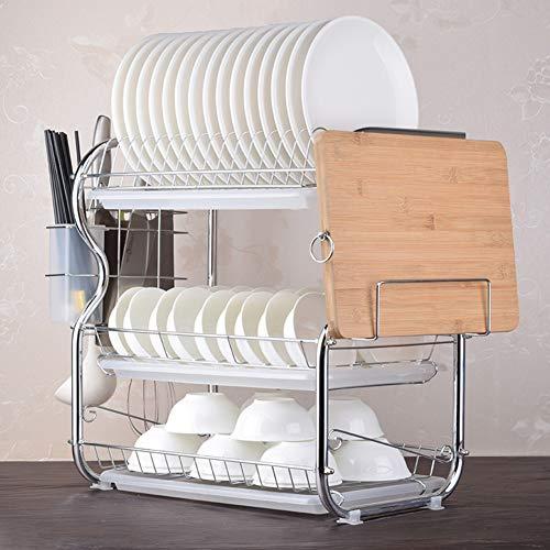 ZYH-shelf Geschirrablage Rack Halter, 3 Tiers Draht Chrom Legierung Küche Waschen Regal Tropfschale Besteckhalter Mit Schneidebrett,White - 3 Regal, Chrom-draht