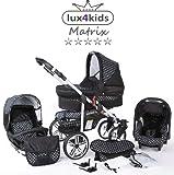 Chilly Kids Matrix II Kinderwagen Komplettset (Autositz & Adapter, Regenschutz, Moskitonetz, Schwenkräder) 57 Schwarz & Weiße Punkte