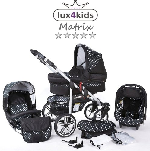 Chilly Kids Matrix II Kinderwagen Sommer-Set (Sonnenschirm, Autositz, Regenschutz, Moskitonetz, Schwenkräder) 57 Schwarz & Weiße Punkte