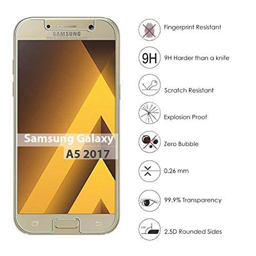 3 Stück Samsung Galaxy A5 Panzerglas, Voroar 9H Härte Schutzfolie Displayschutz / Ultra-klar Displayschutzfolie / Glas Folie gegen Öl und Fingerabdruck Panzerglasfolie - 2