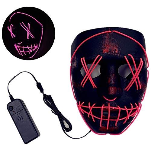 Ghost Dance Kostüm - ACC LED Halloween Maske, Grimasse Horror leuchtende Maske, LED Karneval Maske Kostüm 3 Lichtmuster, Halloween Ghost Dance Festival Party,Rosa