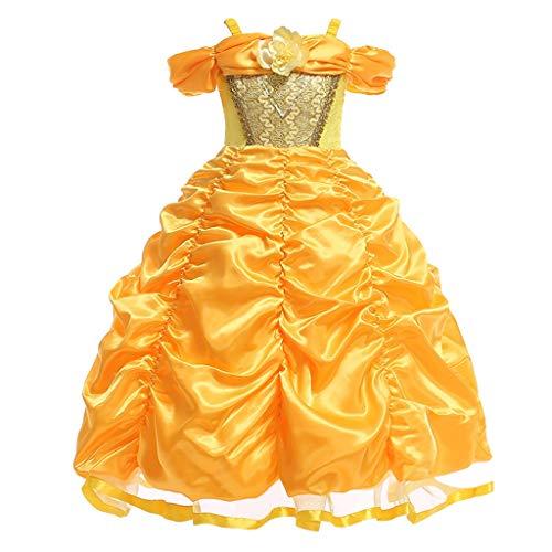 Kostüm Kosmos Cosplay - wuayi Kleider Mädchen, Mädchen Belle Kostüm Prinzessin Kleid Drop Shoulder Cosplay Kostüm Weihnachten Geburtstag Halloween