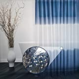 Luxury Shower Curtain by Eurcross,Stylish Pattern Color Gradient Blue Shower Curtain for Bathroom, 10-Gauge PEVA Weighted hem Shower Curtain Liner with Hooks, Size 180 X 180cm