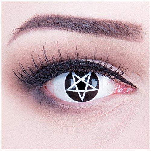 bige weisse weiße schwarze Crazy Pentagram Teufel Satan Jahres Kontaktlinsen perfekt zu Halloween, Karneval, Fasching oder Fasnacht mit gratis Kontaktlinsenbehälter ohne Stärke! ()