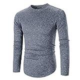 Yvelands Herren T-Shirt Top beiläufige dünne Langarmhemd-Spitzenbluse Weisepersönlichkeitsmänner(EU-48/L,Blau)