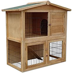 Dibea RH10011 Clapier en bois spacieux pour petits animaux, 98x 54x 100cm