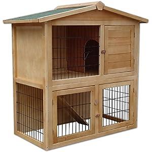[Gesponsert]dibea RH10011, Kleintierstall Holz (98 x 54 x 100 cm), geräumiger 2-Etagen Käfig, 3 Türen, für Kaninchen Hamster Hasen Meerschweinchen