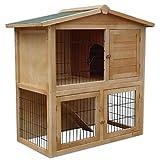 dibea RH10011 Clapier en Bois spacieux (98x 54x 100cm) avec 2Étages et 3Portes Convient pour Les Petits Animaux (Lapins, Hamsters et cochons d'Inde)