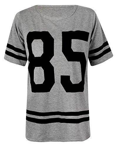 Baseball-print-tank-top (Fast Fashion Frauen Top Kurze Ärmel 85 Zahldruck Streifen Baggy T-Shirt)