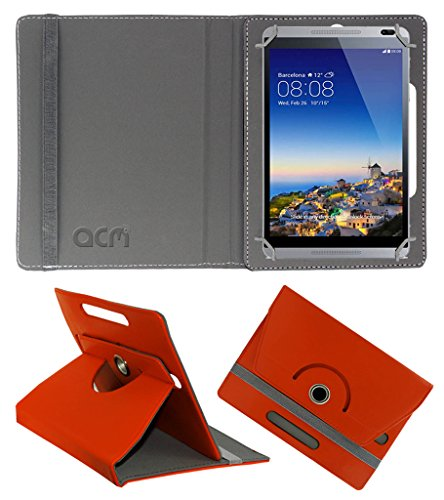 Acm Rotating 360° Leather Flip Case for Huawei Mediapad M1 Cover Stand Orange  available at amazon for Rs.159