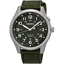 Gents Mans Stainless Steel Seiko Kinetic Watch on Green Military Strap with Date. SKA725P1