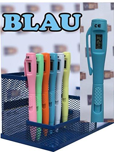 Blau Kugelschreiber mit Digitaluhr Elektronische Uhr Stift Kinder Kugelschreiber Uhr Büro Schreibwaren Versand in 24h aus DE