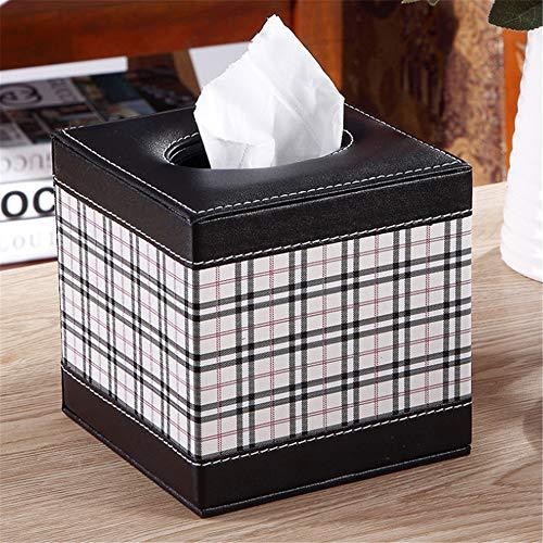 Yan Min Jian Cai Hauptrolle Papier Tissue Box geschnitzt Muster Tablett Fashion Square Karton schwarz und weiß Plaid 13,5 * 13,5 * 13,5 cm -