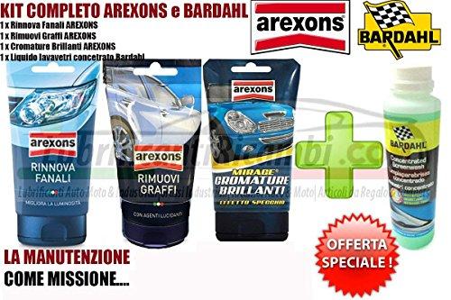 Kit Arexons Bardahl 4Pz Auto Moto AREXONS Rinnova Fanali AREXONS Rimuovi Graffi AREXONS Cromature Brillanti BARDAHL LIQUIDO LAVAVETRI CONCENTRATO
