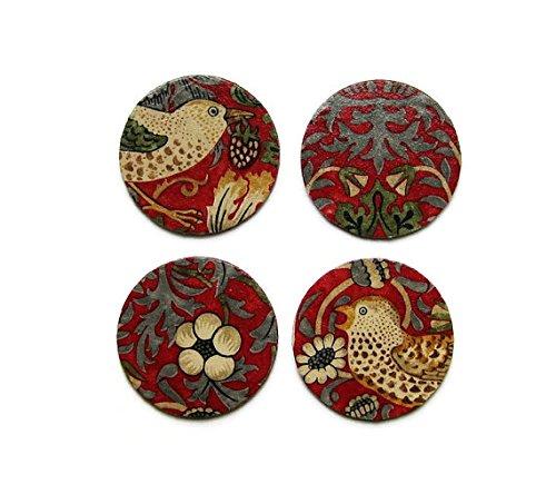 William Morris Erdbeerdieb, Kunst und Handwerk, rot, beige, gold Stoff personalisierbar Découpage-Set von vier Untersetzer Kork, Getränke Mats.