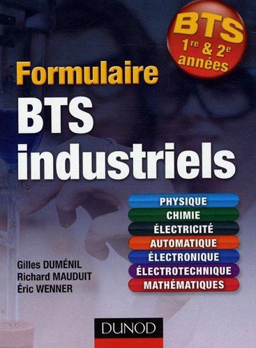 Formulaire BTS 1er et 2e années industriels