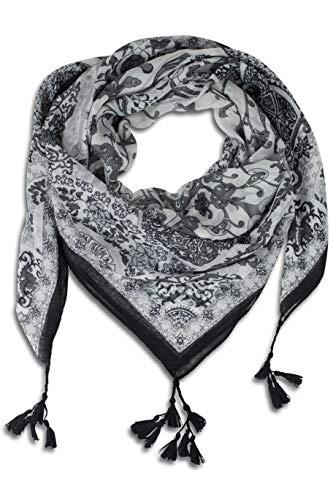 FashionCHIMP Schal für Damen aus Viskose mit Muster-Mix und Zier-Quasten, Dreieck-Tuch (Schwarz-Weiß)