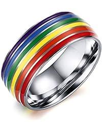 Daesar Joyería Anillo Acero Inoxidable de Mujer Hombre, Arco Iris Tira Banda Venda Lesbian LGBT