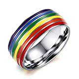 Daesar Edelstahl Regenbogen-Ringe Männer Frauen Regenbogen Streifen Ring Lesbianismus LGBT Gay Pride Ring Größe:62 (19.7)