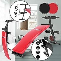 Banc à Abdominaux | Pliable, Réglable en Hauteur (63-82cm), 4 Positions, Rouge ou Noir | Banc Sit Up, de Musculation, d'Entraînement, Fitness