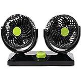 FuriAuto Ventilador de Refrigeración de Doble Cabezal Giratorio 12V con rotación de 360 grados Ventilador de aire de coche Portátil y Silencioso