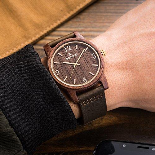 Natürliche hölzerne Uhr Sentai Holzuhr für Mann und Frau Lederarmband stilvolle und schöne handgemachte leichte Quarzuhren Unisex Armbanduhr Braun - 6