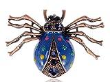 Esmalte metálico azul de insectos vivos de araña Color Pin broche colgante de traje de puntos