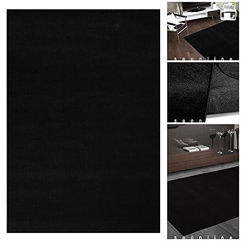 Teppich UNI FLAT Moderner Schwarzer Flachflor | m. ÖKO-TEX geeignet für Kinderzimmer | Kurzflor Läufer Teppiche für Schlafzimmer oder Wohnzimmer | Einfarbiger Teppich in Schwarz Black ohne Muster, Größe:160x230