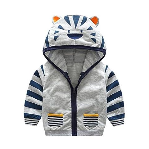 Babykleidung,Sannysis Kinder Baby Mädchen Cartoon Tier Kapuzen Reißverschluss Tops Kleider Mantel Kapuzenjacke Dicke Warm Outwear Kleidung 0.5-5Jahre (110, Grau)