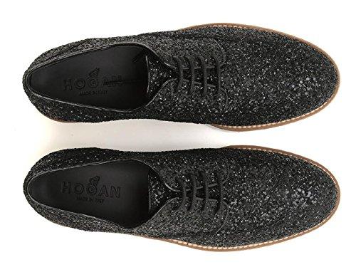 Chaussures à lacets Hogan femme en cuir et paillettes - Code modèle: HXW2590S112L04B999 Noir