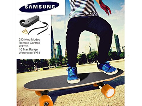 Qulista Fernbedienung Elektro Longboard 20km/h E-Skateboards Erwachsene/Kinder SamSung Lithium Batterie, Reichweite 10 km, Elektro Skateboard belastbar bis 80kg (Orange)