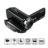 FLOUREON Videocamera 4K WIFI Ultra HD, Zoom Digitale 16x, Modalità AP, Visione notturna IR, LCD 3.0...