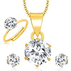 Archi Collection Jewellery Combo of Gold Plated American Diamond Pendant with Chain and Earrings for Girls and Women