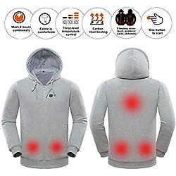 Sudadera con capucha con calefacción, chaqueta abrigada con batería, chaqueta con calefacción, calentador corporal, sudadera con capucha de lana con temperatura controlable para hombres y mujeres