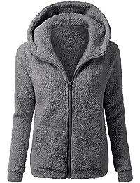 YEBIRAL Frauen Winter beiläufige Art und Weise mit Kapuze Strickjacke-Mantel-warme Kaschmir-Wolle Zipper einfarbig Mantel Baumwollmantel Outwear