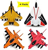 Airplane Toys Set of Die cast Metal Military Themed Aircraft Toy with Pull Back Function 4 Different Designs P