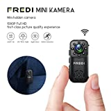 FREDI Mini WLAN Kamera überwachungskamera kabellos Tragbare IP Überwachungskamera Sicherheit Kamera P2P Kleine mit Bewegungsmelder/IR Nachtsicht mit Akku Innen Außen Haus für IOS Andriod iPhone