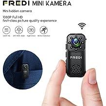 Mini Kamera mini Überwachungskamera FREDI 1080P HD Tragbare Kamera IP Überwachungskamera Sicherheit Kamera P2P Kleine mit Bewegungsmelder/IR Nachtsicht mit Akku Innen Außen Haus für IOS Andriod iPhone