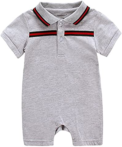 Bonways Baby Boys Summer Cotton Short Sleeve Rompers Bodysuits Jumpsuit