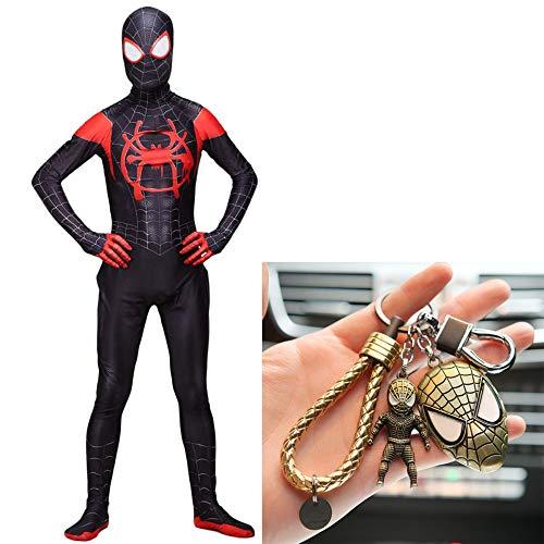 WERTYUH Erstaunliche Spider Man Kostüm Cosplay Kinder Erwachsene Weihnachten Halloween Trikot + Spiderman Keychain - Erstaunlich Kostüm Männer