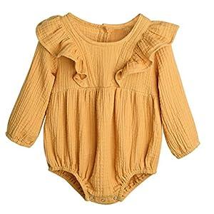 Proumy Kleinkind Baby Mädchen Langarm Rüschen Spielanzug Jumpsuit Bodysuit Kleidung Neugeboren Baby Mädchen Baumwolle Strampler Overalls