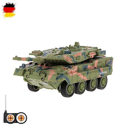 HSP Himoto German Leopard 2A7 - RC Mini Ferngesteuerter Panzer mit Schusssimulation Sound, Beleuchtung, Modell-Maßstab, Komplett-Set inkl. Fernsteuerung