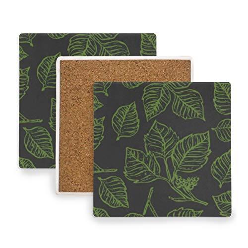 Verycoolthiskid Poison Ivy Outline Seamless Pattern Untersetzer für Getränke Untersetzer Untersetzer Untersetzer Set Cup Mat Pad 4er Set