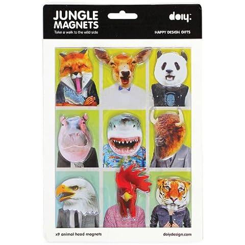 Doiy DYJUNGLEM - Pack de 9 imanes de cabeza de animales
