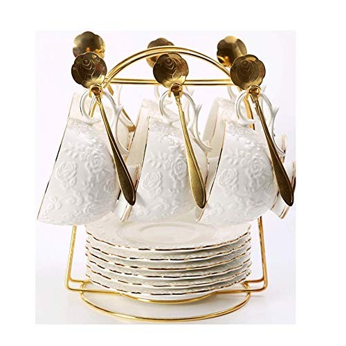 NAFE Keramik Kaffeetasse + Untertasse Set 6 TLG. Kaffeetasse + Untertasse mit Löffel Rosenmuster Haushalt Hochzeit Geschenk, Glas, weiß, 6cupsand6dishesset