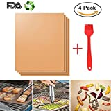 DIYANG Grill Mat Set of 4 and 1 Red Silicone Brush- 100% Non-stick BBQ Grill & Baking Mats - FDA-Approved, PFOA Free, Reusable and Easy to Clean - Works on Charcoal, Electric Grill -15.75 x 13 Inch
