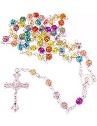 R Heaven - Christian largo del arco iris de flores multicolores rosario