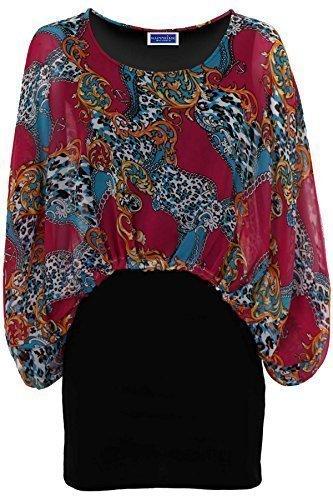 FANTASIA BOUTIQUE pour femmes évasé Sans manche Fleur Paisley Taille Élastique Mousseline de soie Haut Tunique Long ROSE CACHEMIRE (tunique)