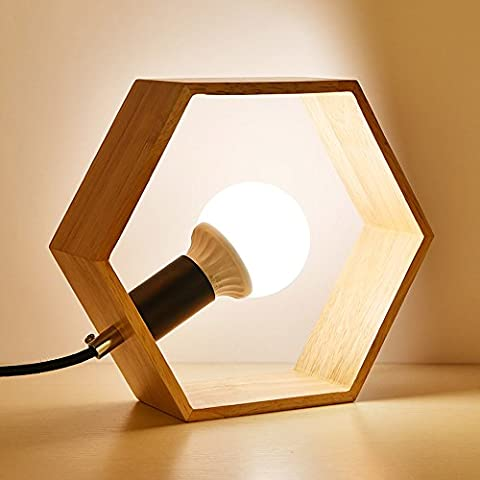 Pumpink Nordic Solid Wood E27 Triangle Four Corners Hexagonal Table Lamp Table Light Modern Simple Bedroom Bedside Desk Lamp Desk Light Warm Decorative Wood Creative Desktop Light Reading Lamp ( Color : A